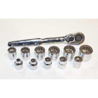 """1/4"""" Steckschlüsselsatz niedrige Bauform 4-14 mm"""